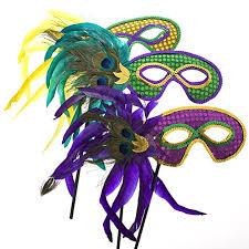 mardi gras feather masks mardi gras handheld feather mask clothing