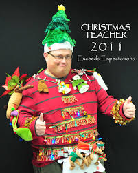 teacher goes beyond normal ugly christmas sweater requirements