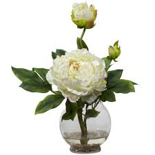 Peony Floral Arrangement by Peony W Fluted Vase Silk Flower Arrangement Nearly Natural