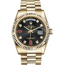rolex day date 36 118238 gold black set with diamonds and