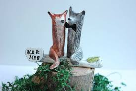 wedding cake topper fox and wolf fox wolf clay fox and