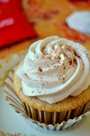 chai spiced cupcakes with whipped cream frosting