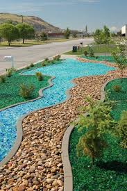 tumbled glass in dry riverbed dry creek beds pinterest glass