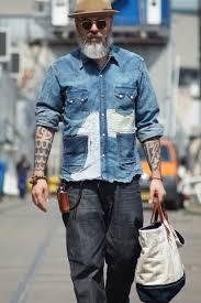 40 fabulous old man fashion looks bleached denim denim shirt