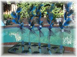 peacock centerpieces dual use peacock and ostrich feather centerpieces and chair or pew