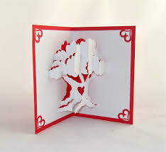 tree valentines day 3d pop up card handmade handcut in