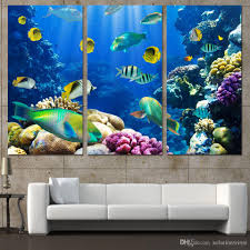 2017 3 panels canvas art tropical coral color fish home decor wall