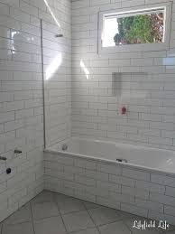 white subway tile with dark grey grout bathroom brightpulse us