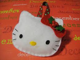 handmade felt hello kitty christmas ornament with holly leaf