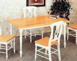 Country Butcher Block Oak And White Finish Wood Dining Table - White and wood kitchen table