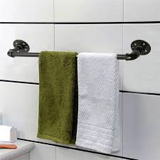 Black Bathroom Towel Bar Retro Vintage Black 60cm Towel Bar Rack Holder Hanger Bathroom