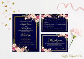 Navy Blue Wedding Invitations Navy Blue Wedding Invitation Printable Navy Wedding Invitation