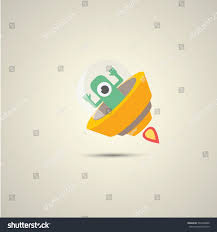 vector flat orange alien spaceship logo stock vector 590394860