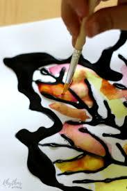 fall leaves black glue watercolor resist art rhythms of play