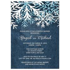 couples shower invitations shower invitations rustic snowflake denim winter
