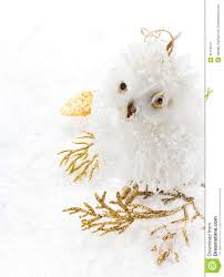 christmas owl and decoration on a white snow christmas bright c