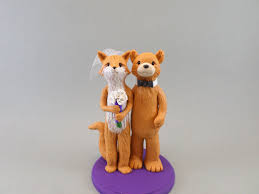 fox and bear customized wedding cake topper