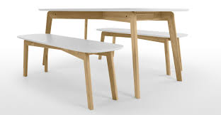 Dining Tables With Bench And Chairs Dante Dining Table And Bench Set Oak And White Made Com