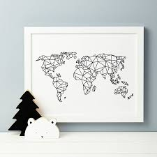 World Map With Antarctica by Geometric World Map Print Geometric Form Nursery Design And