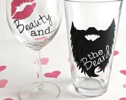 his hers wine glasses beauty and the beard beard glass beard wedding gift