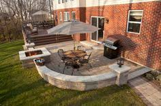 Deck Patio Designs Wood Deck And Patio Combination Outdoor Spaces Pinterest