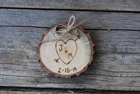 wood ring holder rustic wedding alternative to ring bearer