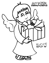 angel boy christmas coloring pages for kids en printable
