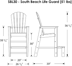 polywood south beach lifeguard chair product diagram for the