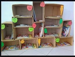Cara Membuat Lemari Buku Dari Kardus Bekas   rak buku cantik dari kardus bekas dunia belajar anak