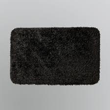 bathroom classy square black memory foam bath mats on white tile