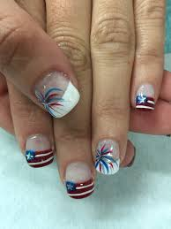 patriotic memorial day 4th if july flag u0026 firework gel nails all