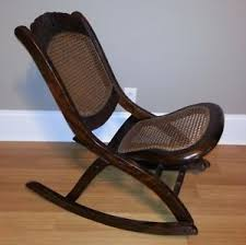 Antique Nursing Sewing Rocker Small Star Pattern Seat Antique Folding Wooden Rocking Chair With Wicker Seat And Back