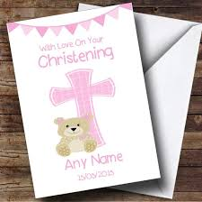 Christening Card Invitations Girls Dedication Pink Cross Personalised Christening Card The