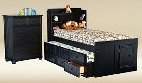 Bookcase Filing Cabinet Combo Bensonhurst Black Twin Size Bookcase Combo Captain U0027s Bed