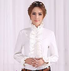 frilly blouse womens sleeves tops fashion high neck frilly ruffle shirt