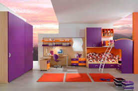 bunk beds for teenage girls with purple and orange colors home