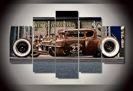 Car Room Decor Framed Printed Antique Classic Car Painting Room Decor Print