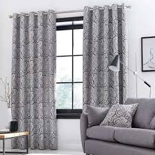 Retro Curtains Retro Flower Grey Eyelet Curtains Dunelm
