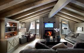 bedroom remarkable attic bedroom design with brown wooden tv