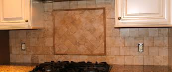 cool green subway tile backsplash with wooden cabinet and table
