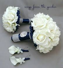 wedding flowers roses bouquets of flowers for weddings navy white wedding flower bridal