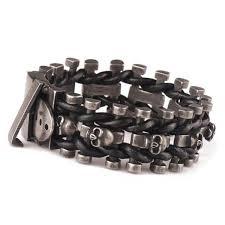make leather woven bracelet images Leather woven stainless steel skull bracelet ancient explorers jpg