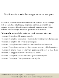 Retail Manager Resume Example Top8assistantretailmanagerresumesamples 150521075600 Lva1 App6891 Thumbnail 4 Jpg Cb U003d1432195013