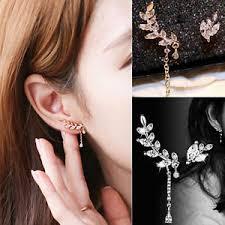 cuff earrings with chain women s asymmetric leaf ear clip chain drop dangle ear cuff stud