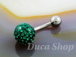 piercing buric aur piercing pentru buric model din argint zirconiu verde cod 391
