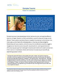 complex facts for educators the national child traumatic