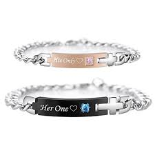 his and hers engraved bracelets personalized his only one titanium matching bracelets for