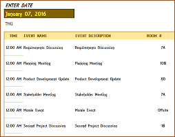 excel templates daily planner daily event schedule template