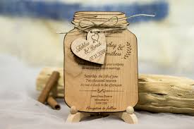 wooden wedding invitations real wood wedding invitation jar jar wedding