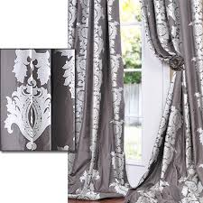 216 Inch Curtains Charcoal Grey With Silver Metallic Print Faux Silk 108 Inch